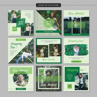 Green fashion social media post template