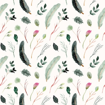 Green feather and floral watercolor seamless pattern