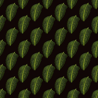 Green fern leaf ornament seamless pattern in doodle tropical style. dark brown background.