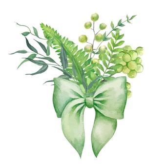 緑のシダと緑の弓とハーブの花束