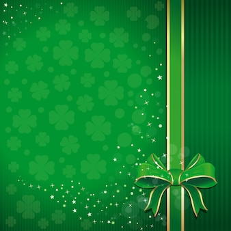 Green festive background with ribbon leafed clover