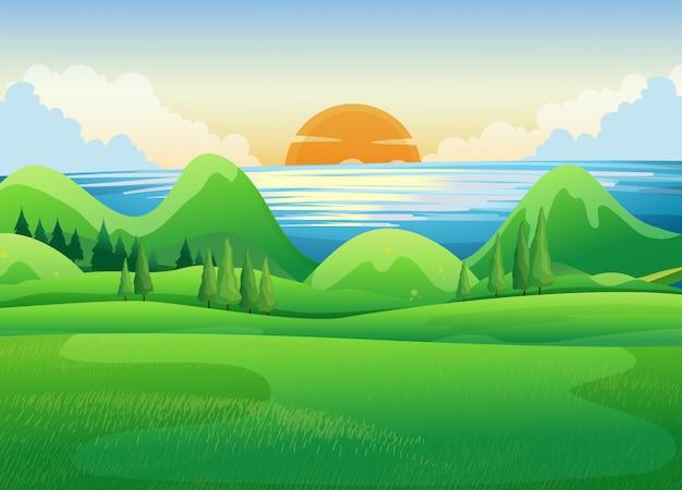 Зеленое поле на закате