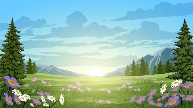 朝の松林のある緑の野原