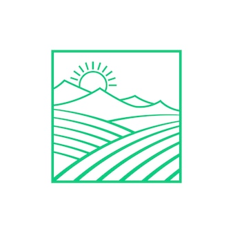 Green fields and mountains with sun. concept of countryside summer scene, eco travel, agronomy, border. flat style trend modern logotype creative graphic design vector illustration on white background