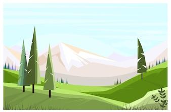 Зеленые поля с изображением высоких деревьев