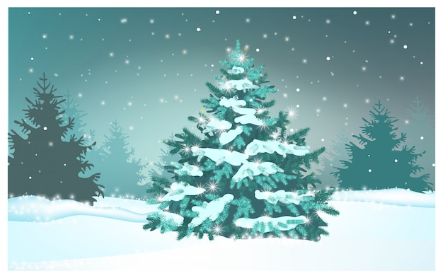 Green fir tree in winter forest illustration