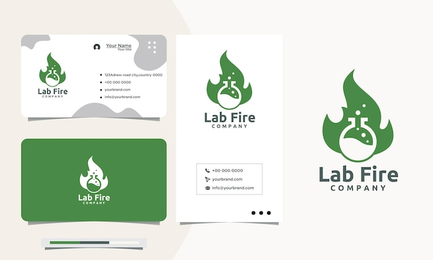 Green fire lab logo design and business card