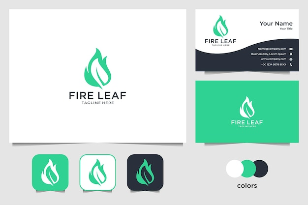 Green fire leaf logo design and business card