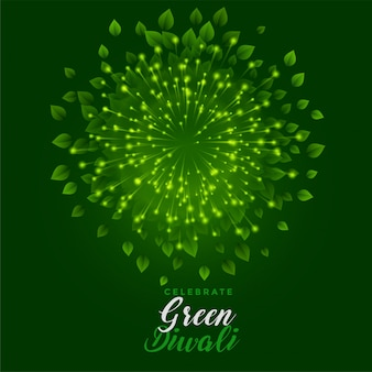 Green fireworks with leaves for happy diwali celebration