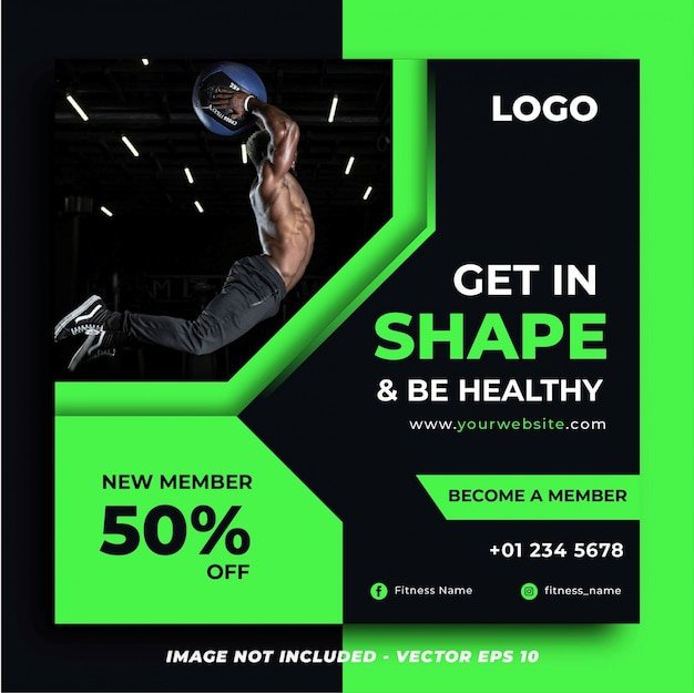 Green fitness gym promotion instagram post or square banner template