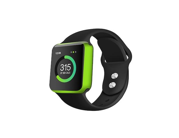 Зеленый фитнес-часы на белом фоне