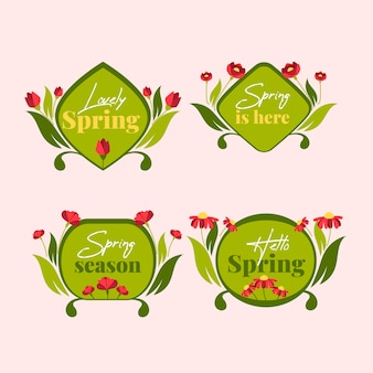 Green flat design badges with spring collection
