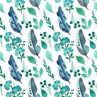 緑の花と水彩のシームレスなパターンを持つ羽