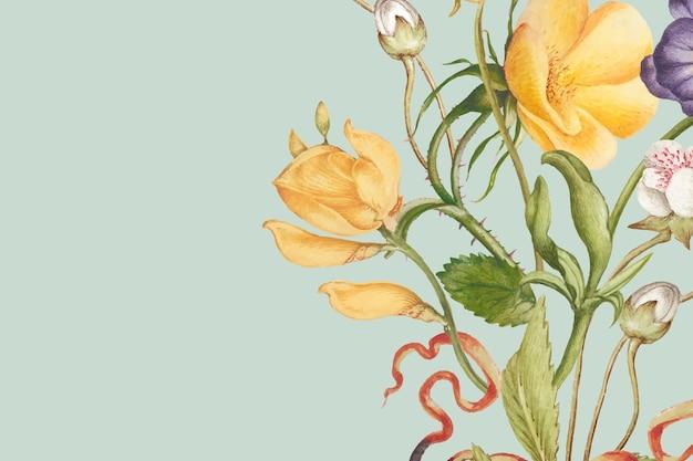 Pierre-joseph redouté의 작품에서 리믹스된 파스텔 종이 텍스처 스타일의 녹색 꽃 배경