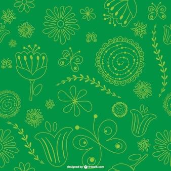 Зеленый цветочный узор