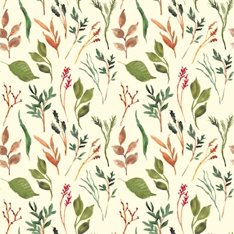 Green floral beautiful leaves watercolor seamless pattern