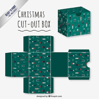Green floral christmas cut out box