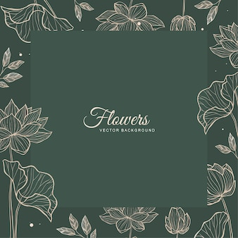 청첩장 서식 파일에 대 한 녹색 꽃 잎이 많은 프레임 디자인 벡터