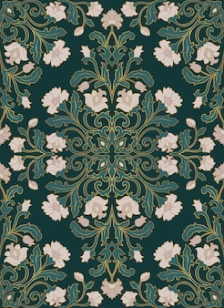Green floral pattern.
