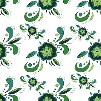 Зеленый цветочный бесшовный фон - вектор текстуры с цветком