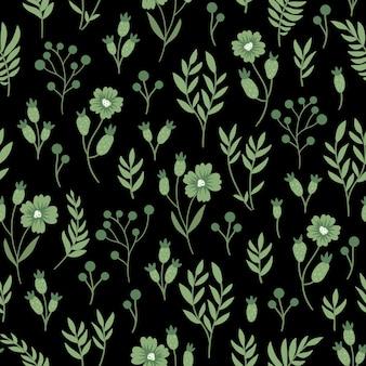 緑の花のシームレスなパターン。