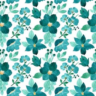 緑の花の水彩画のシームレスパターン