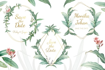 Green floral wedding invitation frames vector