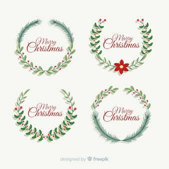 Green floral wreath for christmas