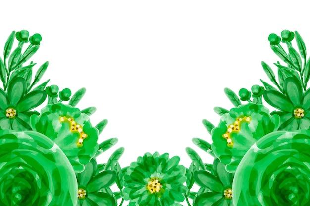 Зеленый цветочный фон с акварелью