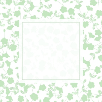 Green flower frame on green and white background