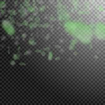 녹색 꽃잎이 떨어지고 있습니다. 인기 있는 로맨틱 꽃 그라데이션. 투명 한 사각형 배경에 비행 꽃잎입니다. 사랑, 로맨스 개념입니다. 기이한 청첩장.