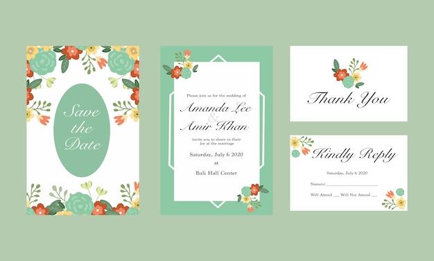 Green flower wedding invitation card