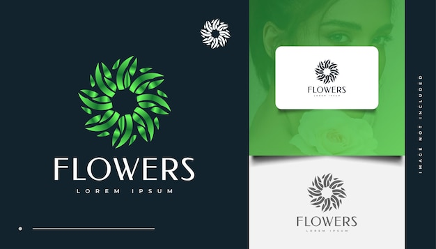 Green flowers logo design with spiral concept,