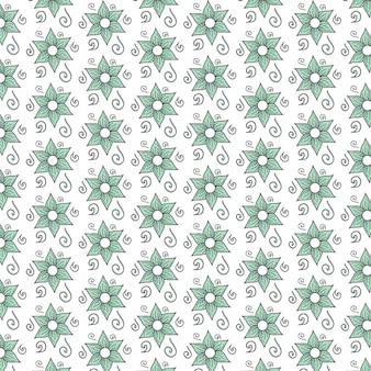 Green flowers pattern design