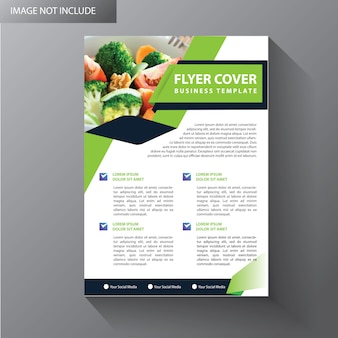 Green flyer business template for brochure cover