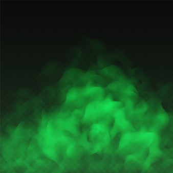 Зеленый туман, неприятный запах или облако ядовитого дыма, изолированные на прозрачном фоне. реалистичный эффект смога, дымки, тумана или облачности.