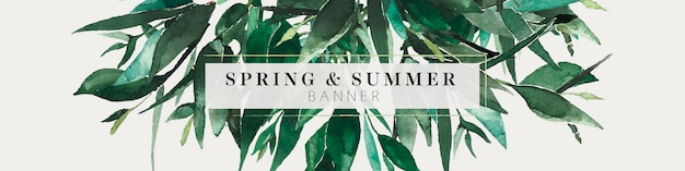 Green foliage branches and leaves summer banner