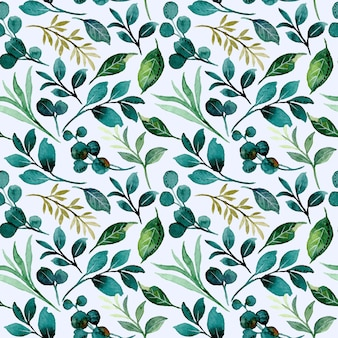 Green foliage seamless pattern with watercolor