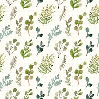 Green foliage watercolor seamless pattern