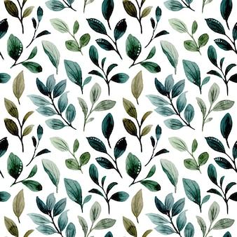 緑の葉の水彩画のシームレスなパターン