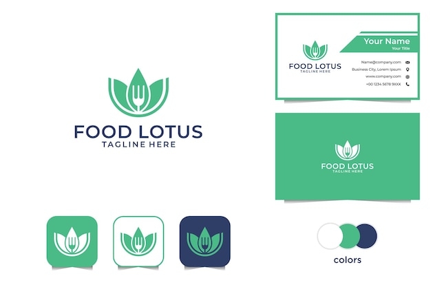 Green food lotus logo and business card