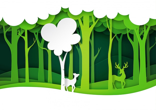 Green forest and deer wildlife with nature landscape, layers paper art style.