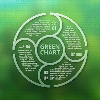Green forest eco infographic on unfocused blurred smooth creative background