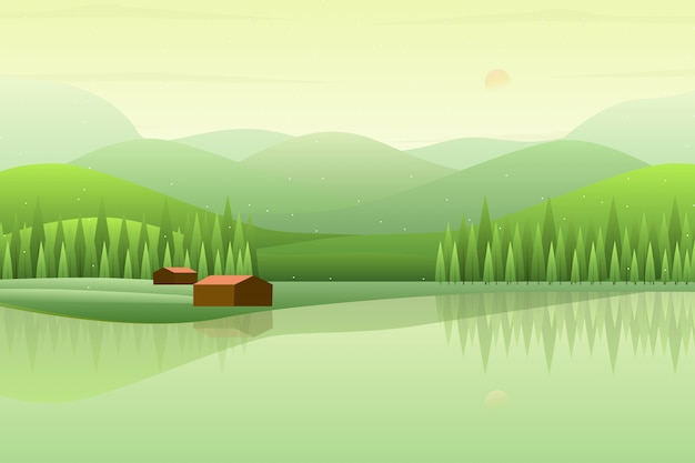 Green forest landscape with mountain and sky illustration