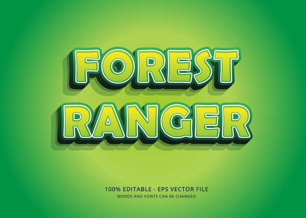 Green forest ranger editable text effect