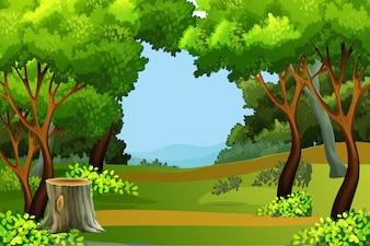 Green forest scene background