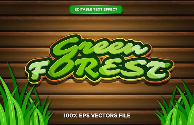 Green forest text effect, editable cartoon and forest text style premium vector
