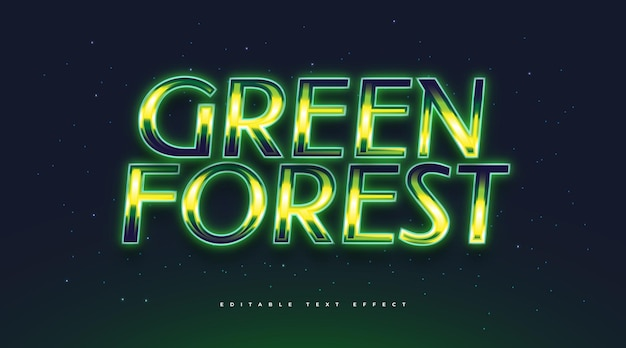 Green forest text with retro style and glowing effect. editable text style effect