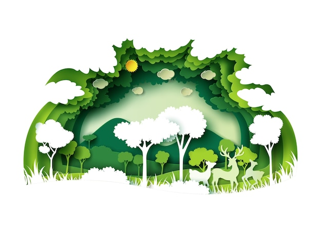 Green forest and wildlife