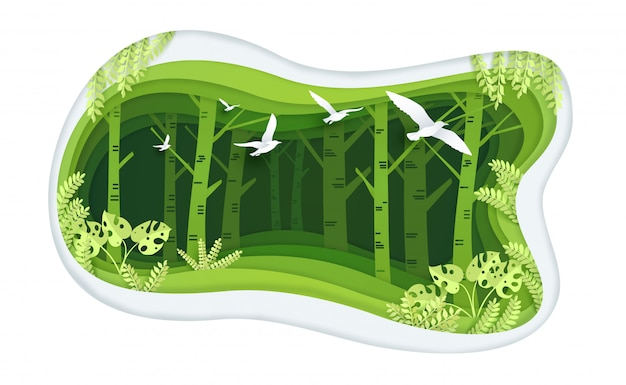 Green forest with paper art design
